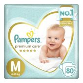 PAÑALES PAMPERS PREMIUM CARE TALLE M 80 UNIDADES