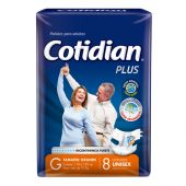 PAÑAL COTIDIAN PLUS TALLE GRANDE X8 UNIDADES.