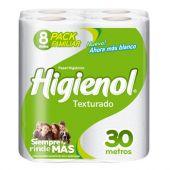 PAPEL HIGIÉNICO HIGIENOL TEXTURADO 30 METROS X8