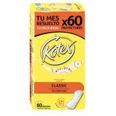 PROTECTORES DIARIOS KOTEX CLASSIC SIN PERFUME X60 UNIDADES