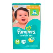 PAÑALES PAMPERS CONFORT SEC M X72 UNIDADES
