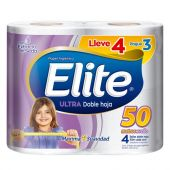 PAPEL HIGIENICO ELITE ULTRA DOBLE HOJA 50 MT 4X3 UNIDADES