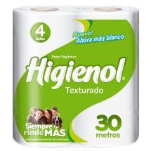 PAPEL HIGIÉNICO HIGIENOL TEXTURADO 30 METROS X4