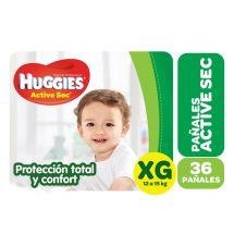 PAÑALES HUGGIES ACTIVE SEC HIPER XG 36 UNIDADES