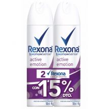 ANTITRANSPIRANTE REXONA AEROSOL ACTIVE EMOTION 150ML X2 +25%