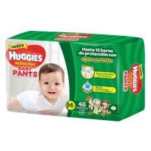 PAÑALES HUGGIES ACTIVE SEC PANTS TAMAÑO M X48 UNIDADES