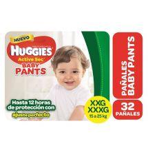 PAÑALES HUGGIES ACTIVE SEC PANTS TAMAÑO XXG 32 UNIDADES